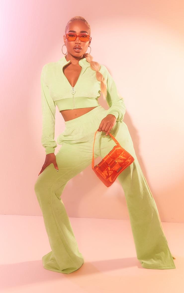 PRETTYLITTLETHING Shape Lime Velour Cropped Zip Up Sweatshirt 3