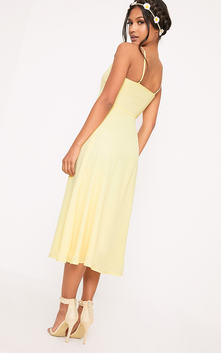 Dallia Lemon Ruffle Detail Midi Dress 2