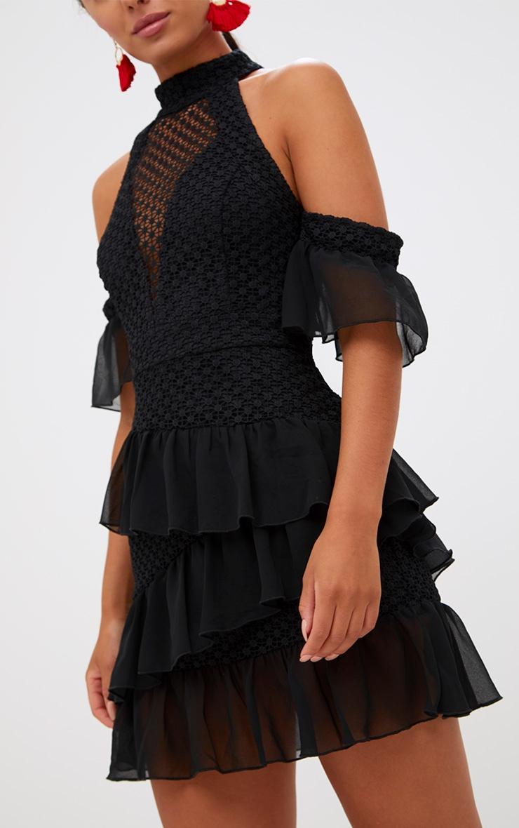 Black Crochet Mesh Frill Detail Bodycon Dress 5