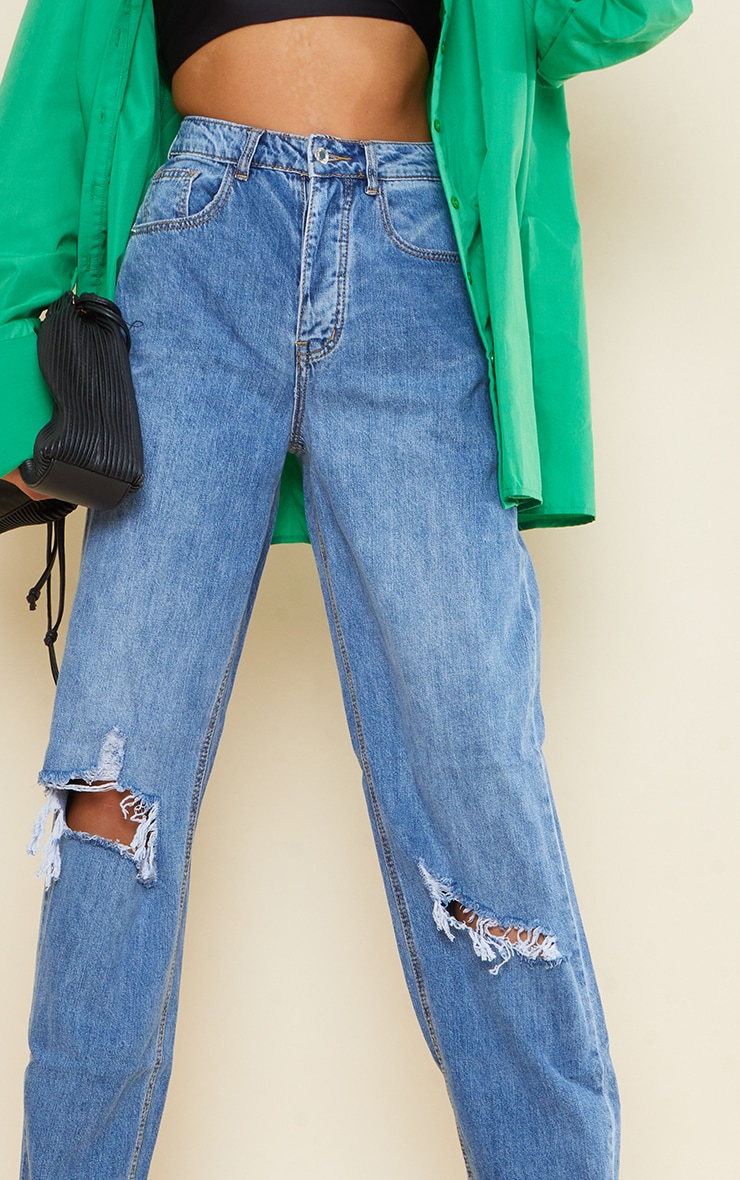 PRETTYLITTLETHING Tall Light Blue Wash Extreme Ripped Hem Boyfriend Denim Jeans 4