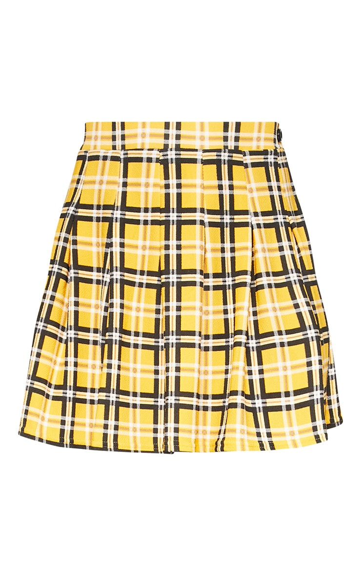 Yellow Check Tennis Side Split Skirt 3