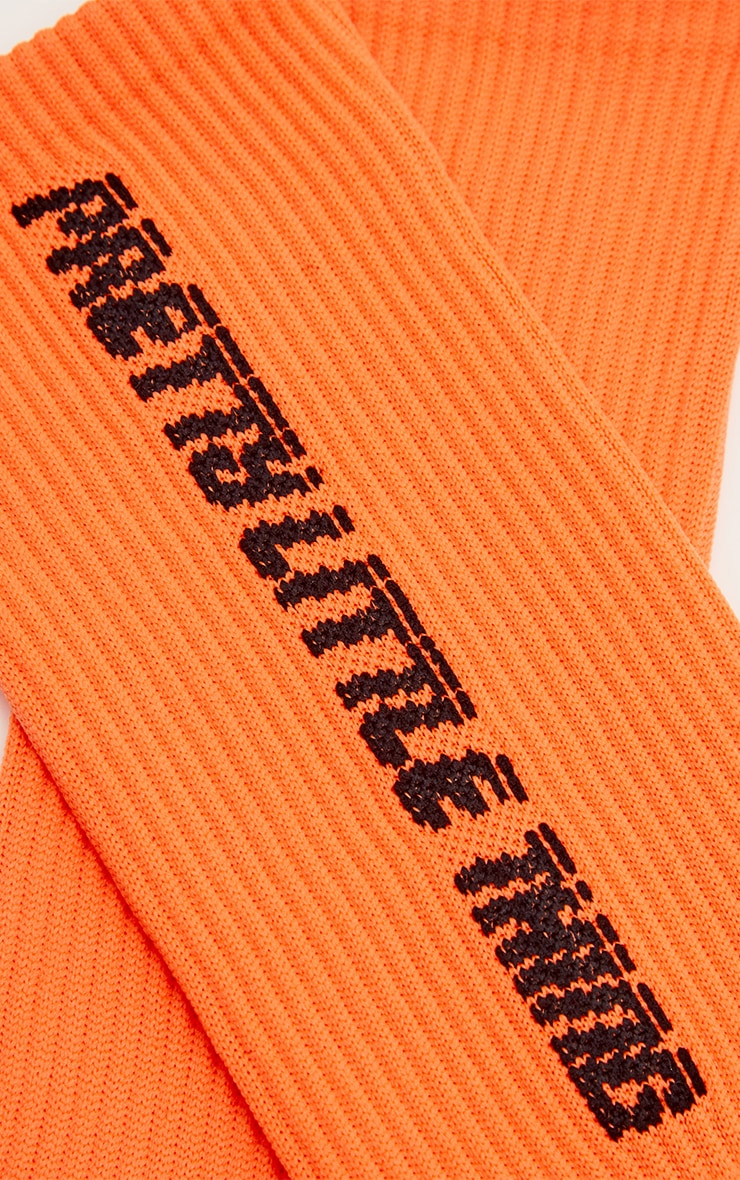 PRETTYLITTLETHING Neon Orange Logo Socks 4