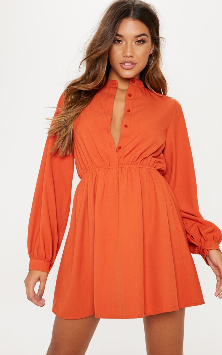 Rust Collarless Shirt Tea Dress