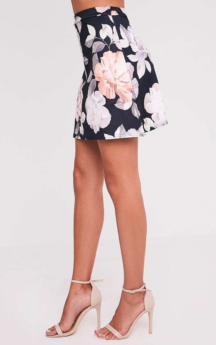 Deltie Nude Floral Print A-Line Mini Skirt 4