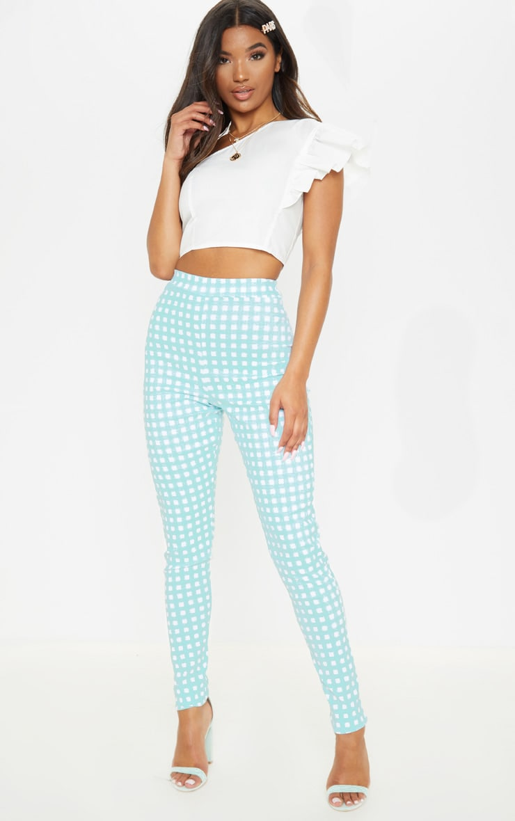 Mint Gingham High Waisted Woven Stretch Legging 1