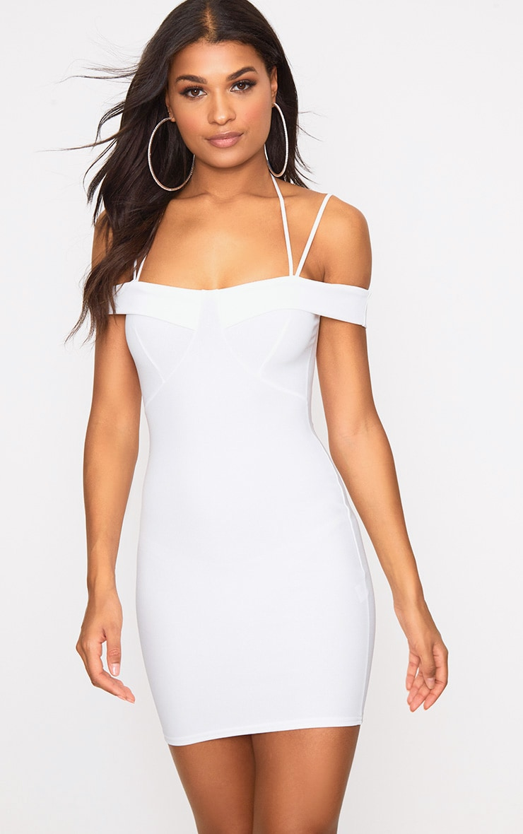 White Strap Detail Bodycon Dress 1