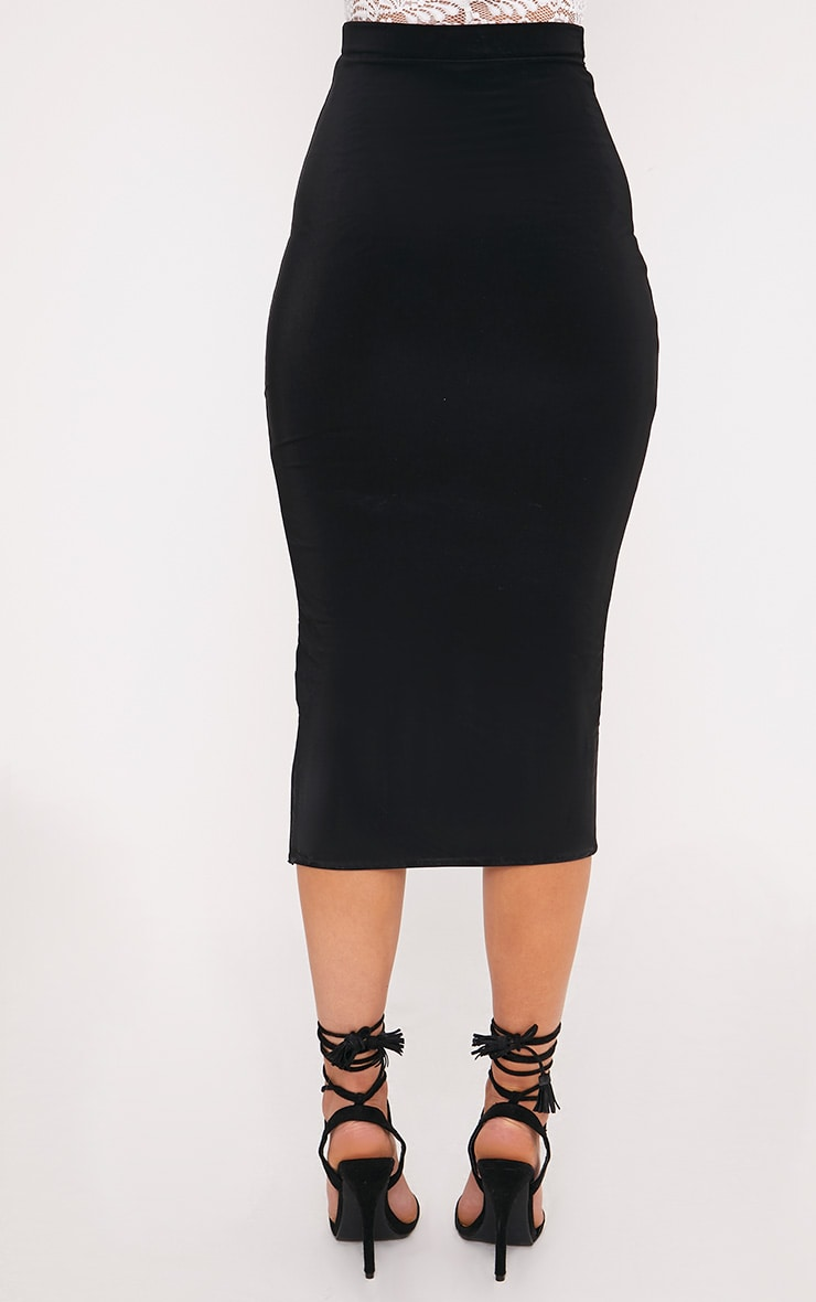Steffany Black Slinky Long Line Midi Skirt 4