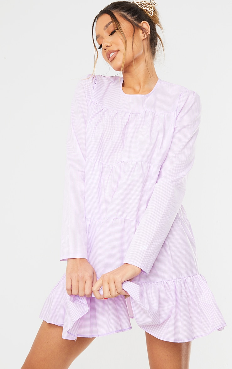 Lilac Gingham Tiered Hem Long Sleeve Shift Dress 1