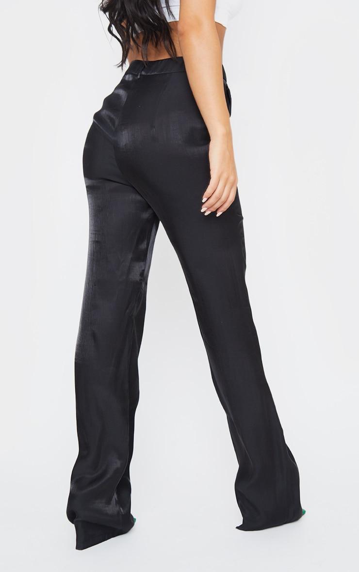 Black Shimmer Satin Straight Leg Pants 3