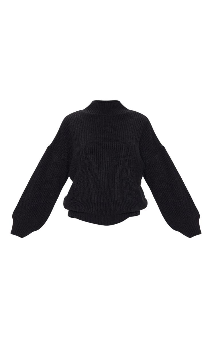 Black Balloon Sleeve Fluffy Sweater 3