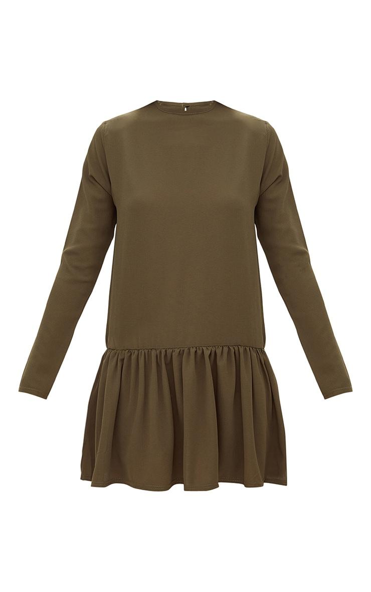 Khaki Long Sleeve Frill Hem Shift Dress 3