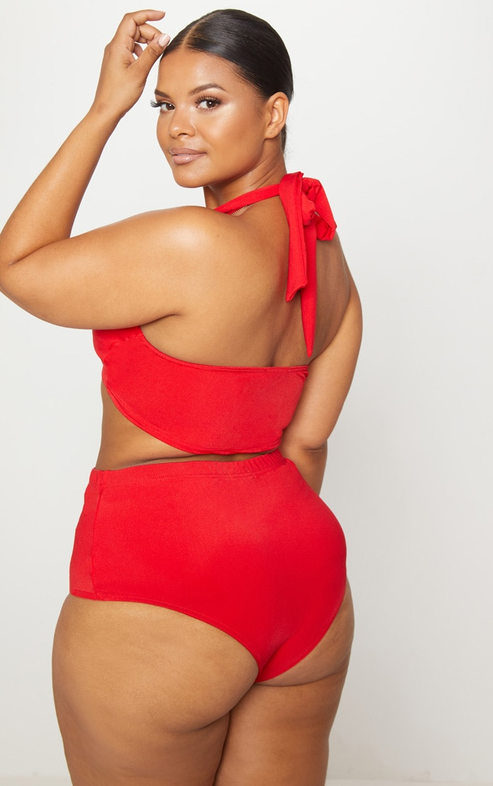 Plus Red Halterneck High Waist Bikini Set 2