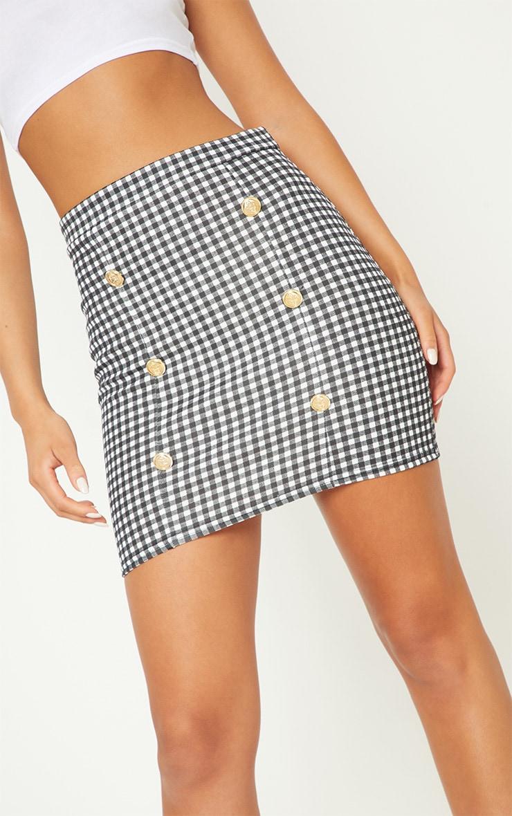 Black Gingham Check Button Detail Mini Skirt 6