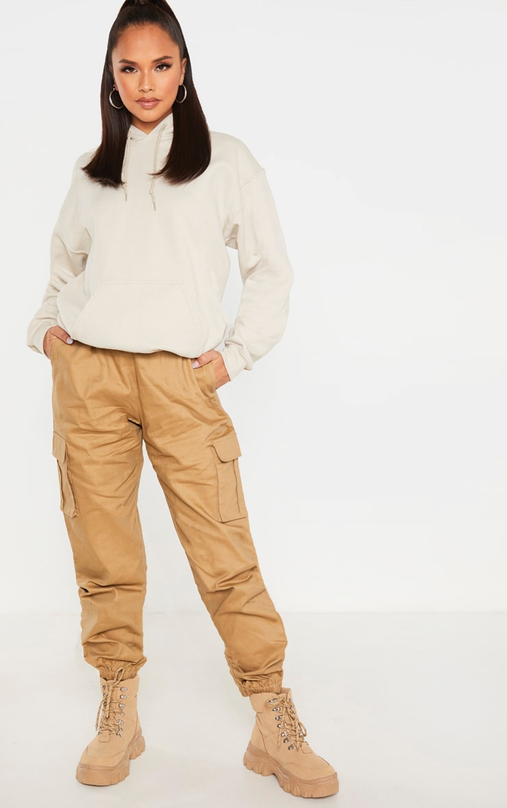 Taupe Utility Buckle Belt Joggers 1