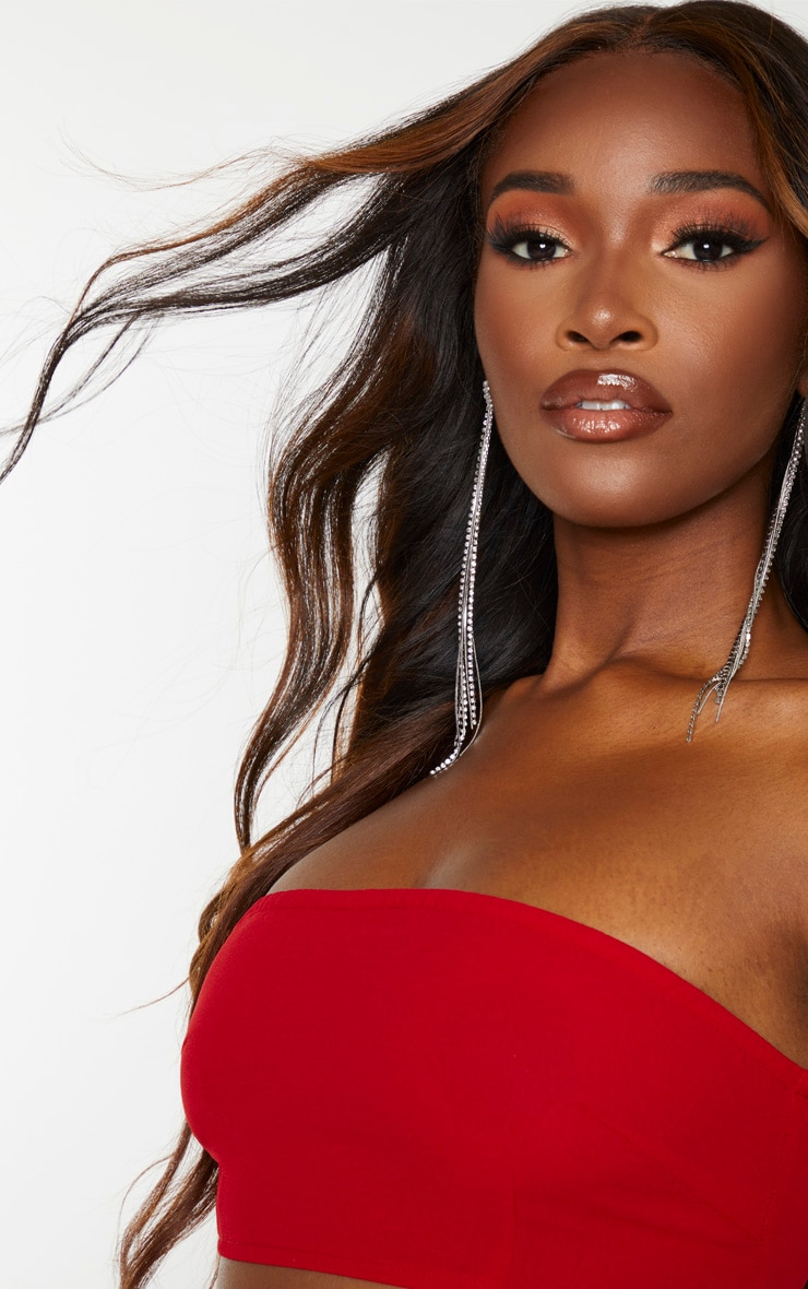 Red Woven Zip Back Bandeau 6