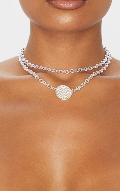 Silver Double Layer Diamante Circle Chain Necklace