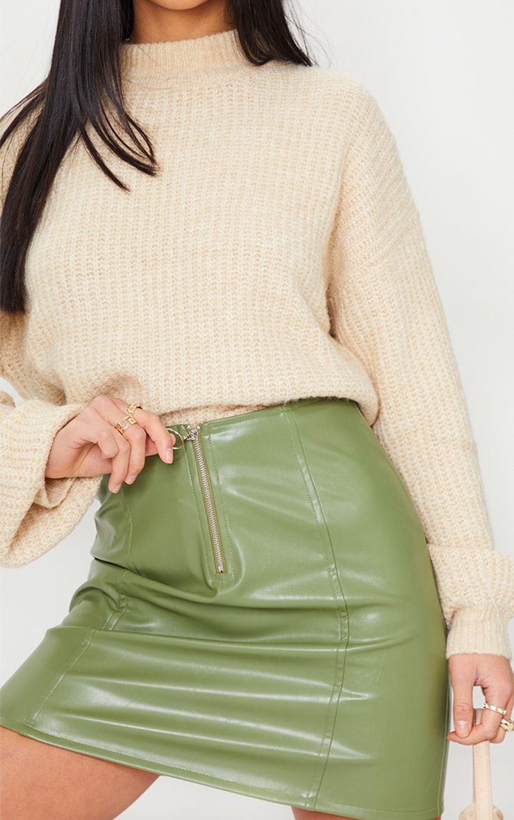 Petite Olive Faux Leather Zip Through Mini Skirt 5