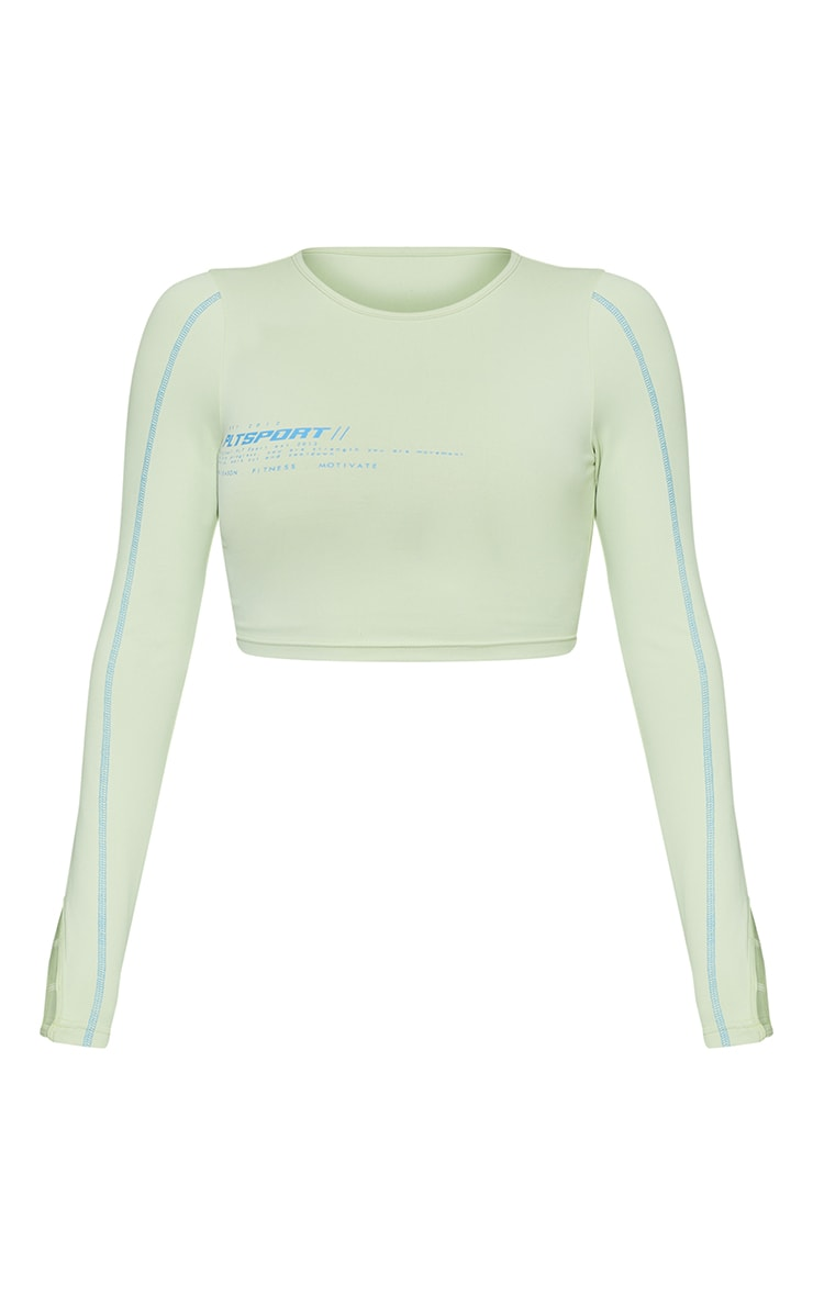 Lime Cut Out Piping Detail Long Sleeve Cropped Gym Top 5