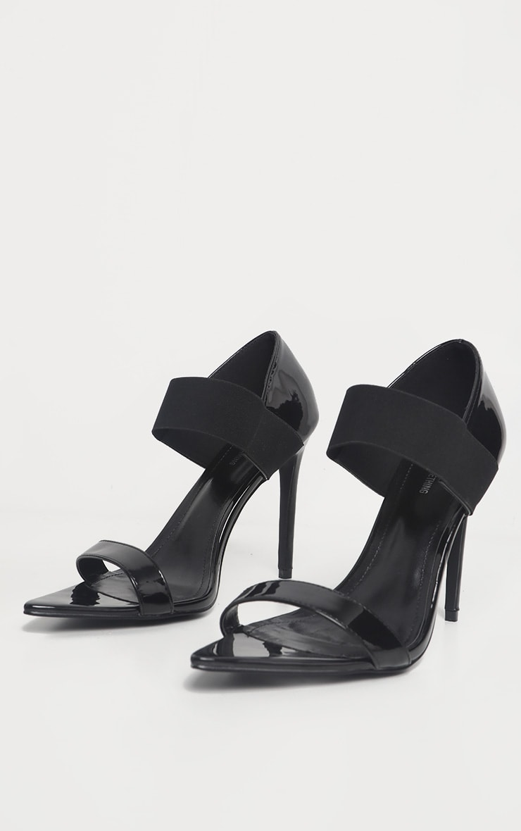 Black Patent Point Toe Elastic Sandal  3