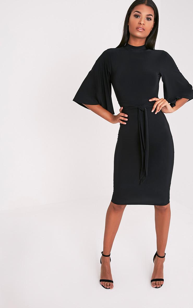 Hasnae robe midi kimono moulante noire à dos ouvert 5