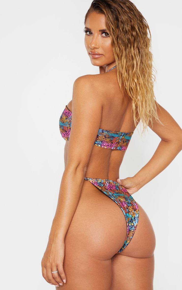 Multi Lizard Print Tie Front Halterneck Bandeau Bikini Top 2