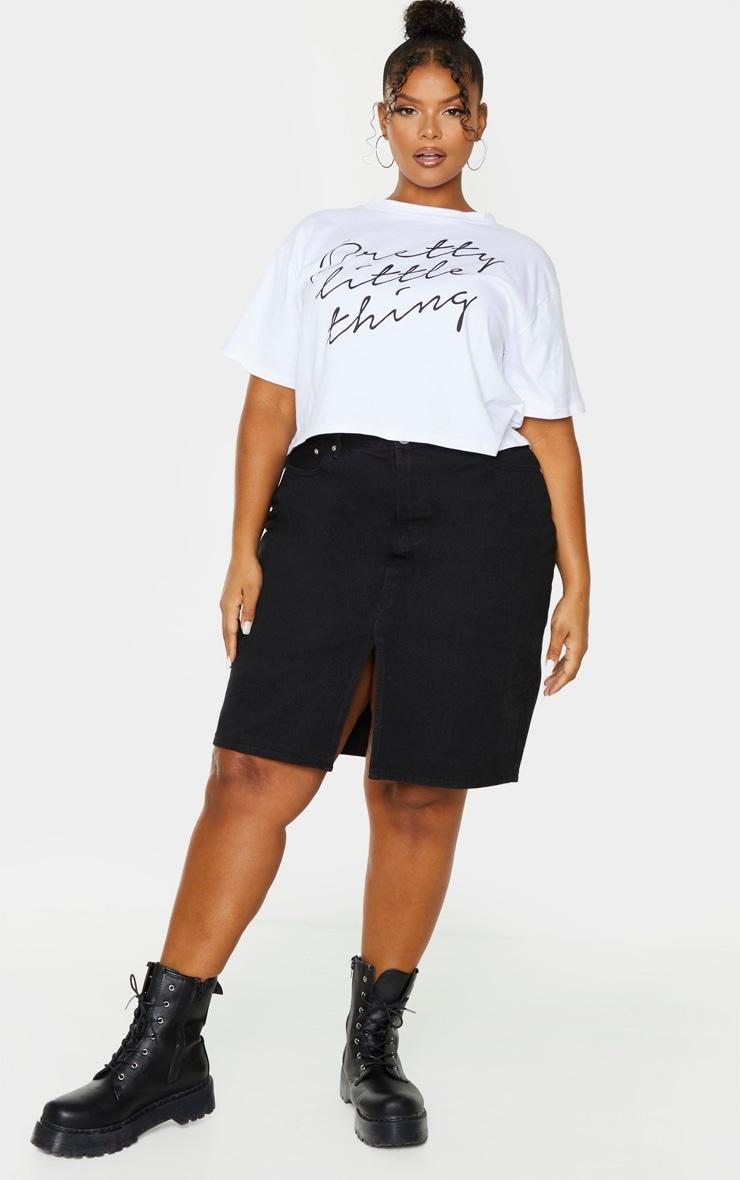 Plus Black Slit Detail Denim Midi Skirt 1