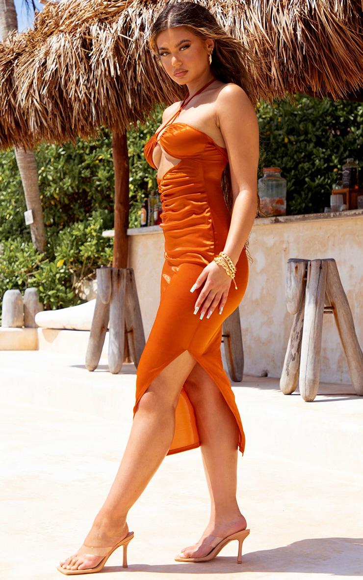 Orange Metallic Midaxi Cut Out Slip Beach Dress 3