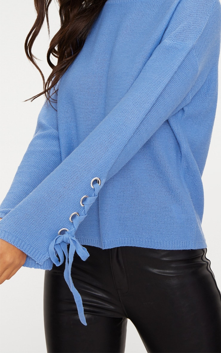 Blue Lace Up Sleeve Jumper 5