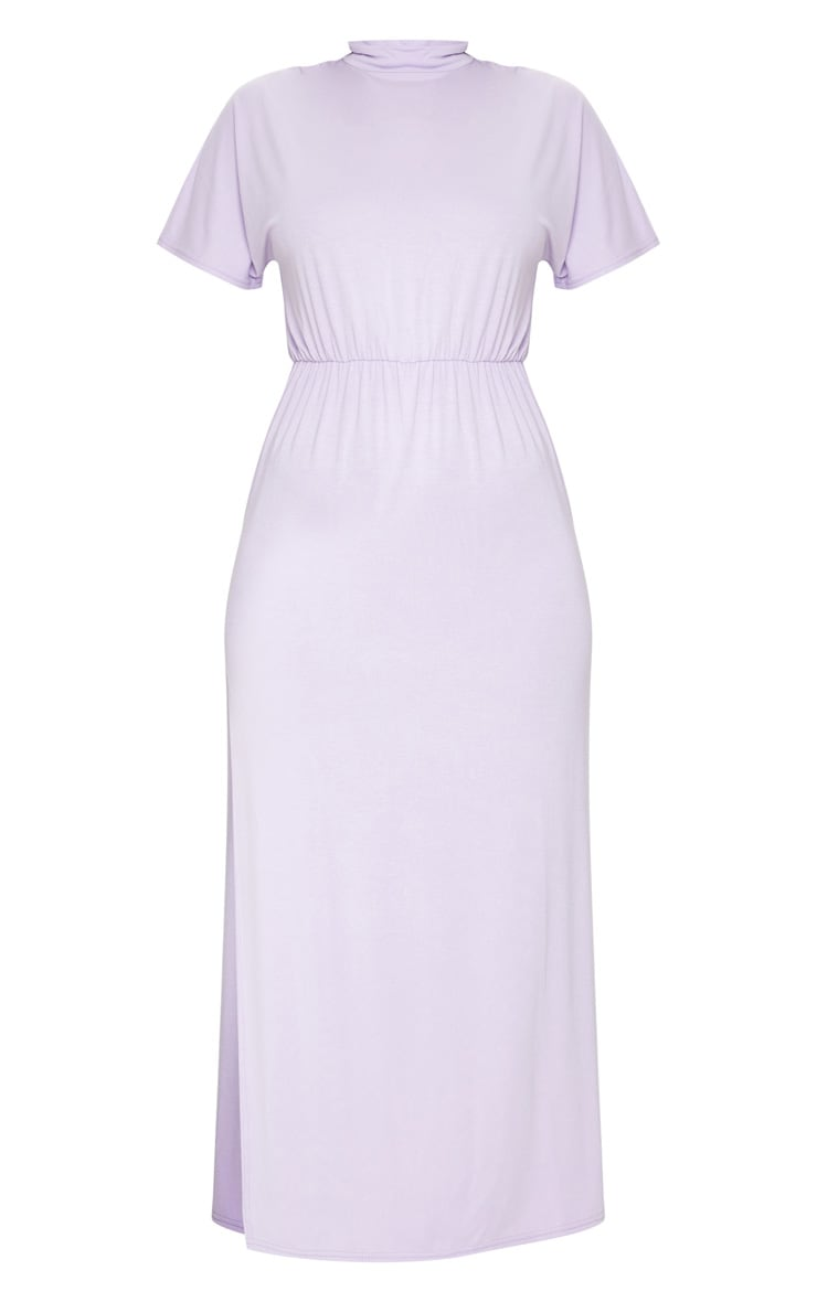 Lilac High Neck Elasticated Split Detail Midi Dress 5