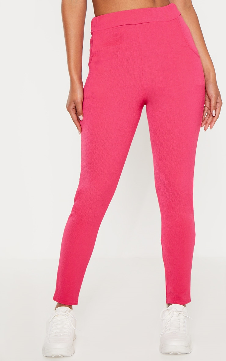 Bright Pink Crepe Skinny Pants 2