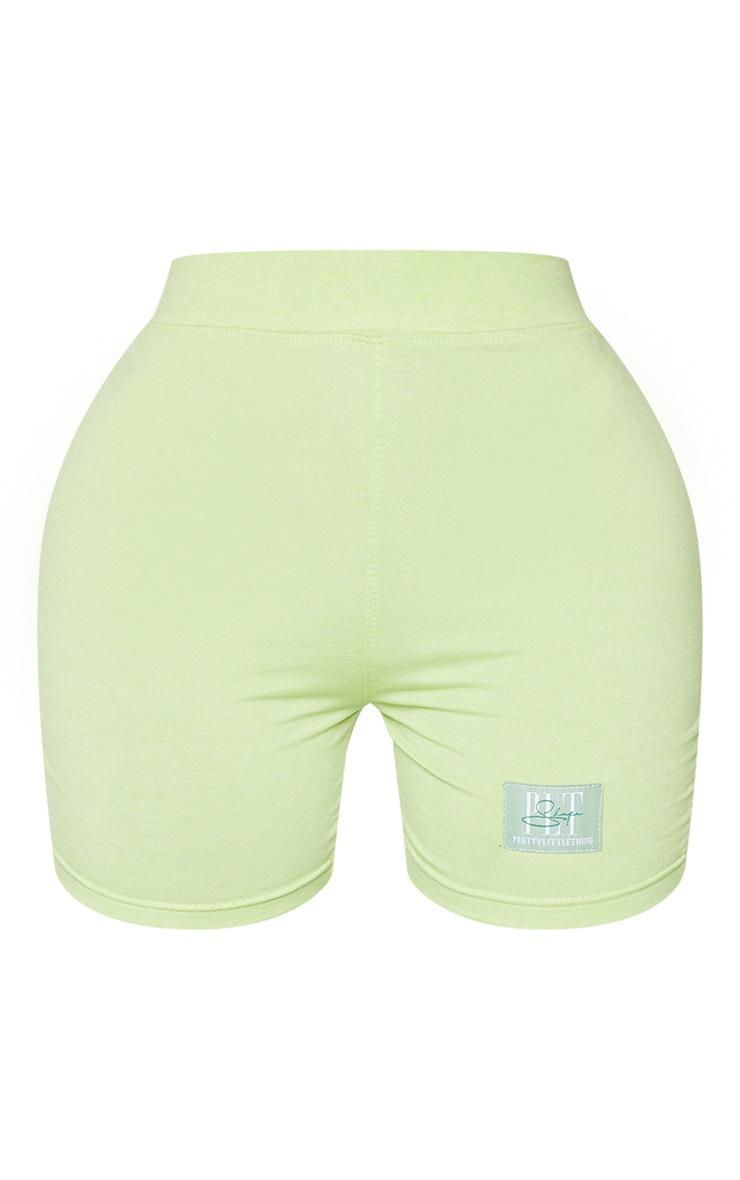 PRETTYLITTLETHING Shape Lime High Waist Bike Shorts 6