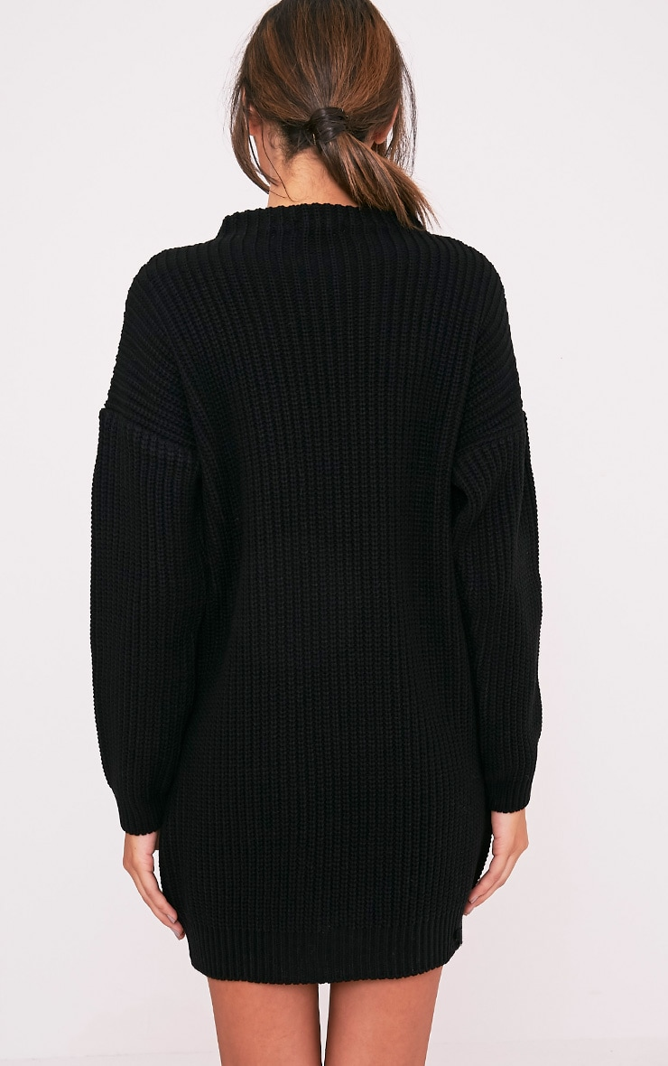 Black Oversized Knit Jumper Dress 2