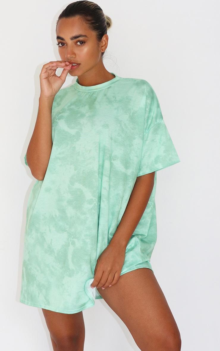 Petite Mint Oversized Tie Dye T Shirt Dress 1