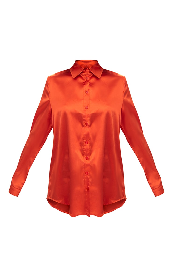 Orange Satin Button Front Shirt 4