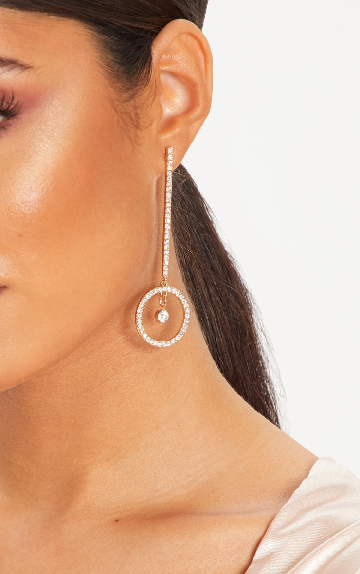 Gold Diamante Drop Circle Earrings 1