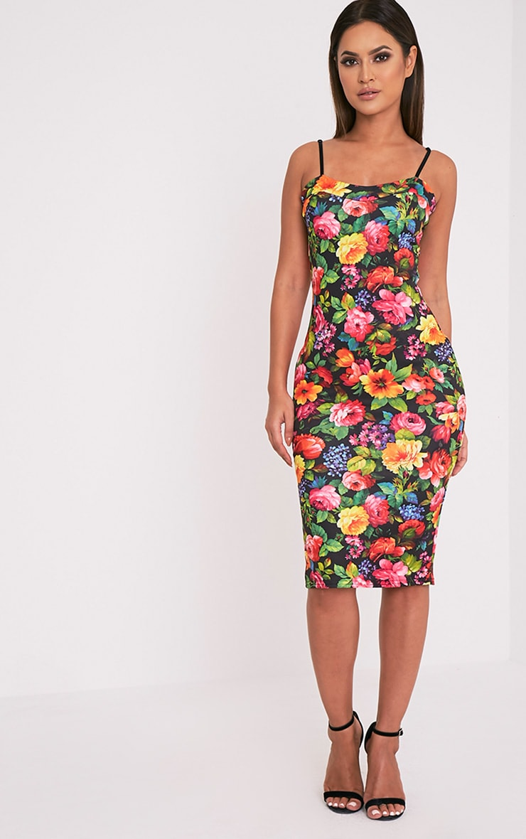 Dinah Black Floral Strappy Midi Dress 1