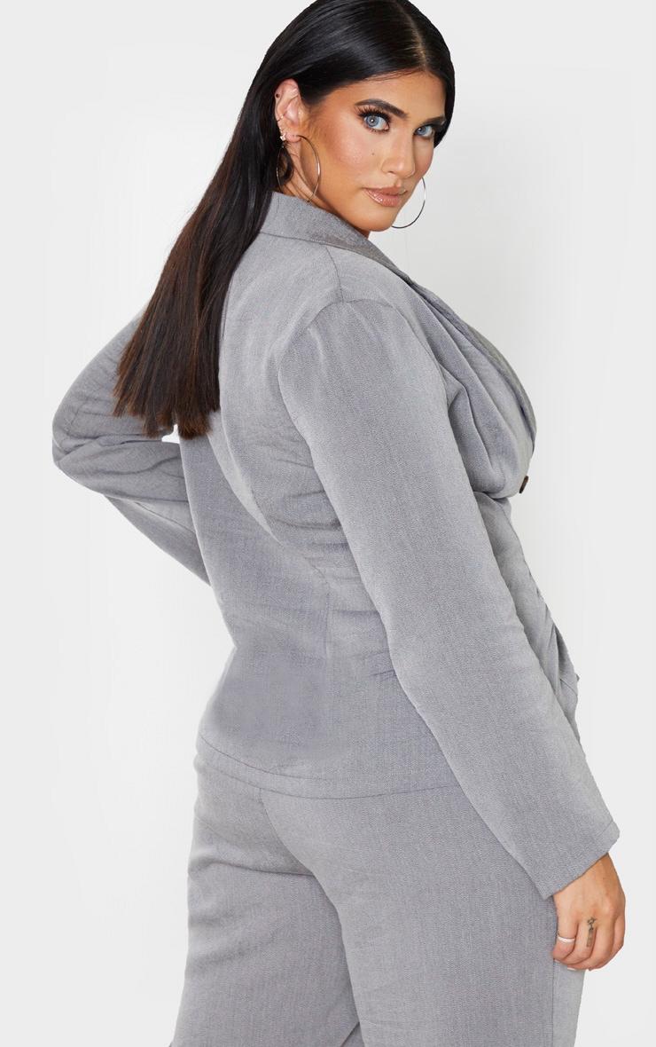 Plus Grey Woven Tortoise Buttoned Blazer 2