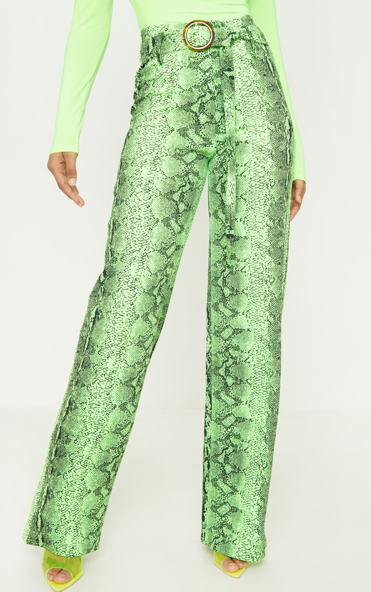 Tall Neon Lime Snake Print Wide Leg Trouser 2