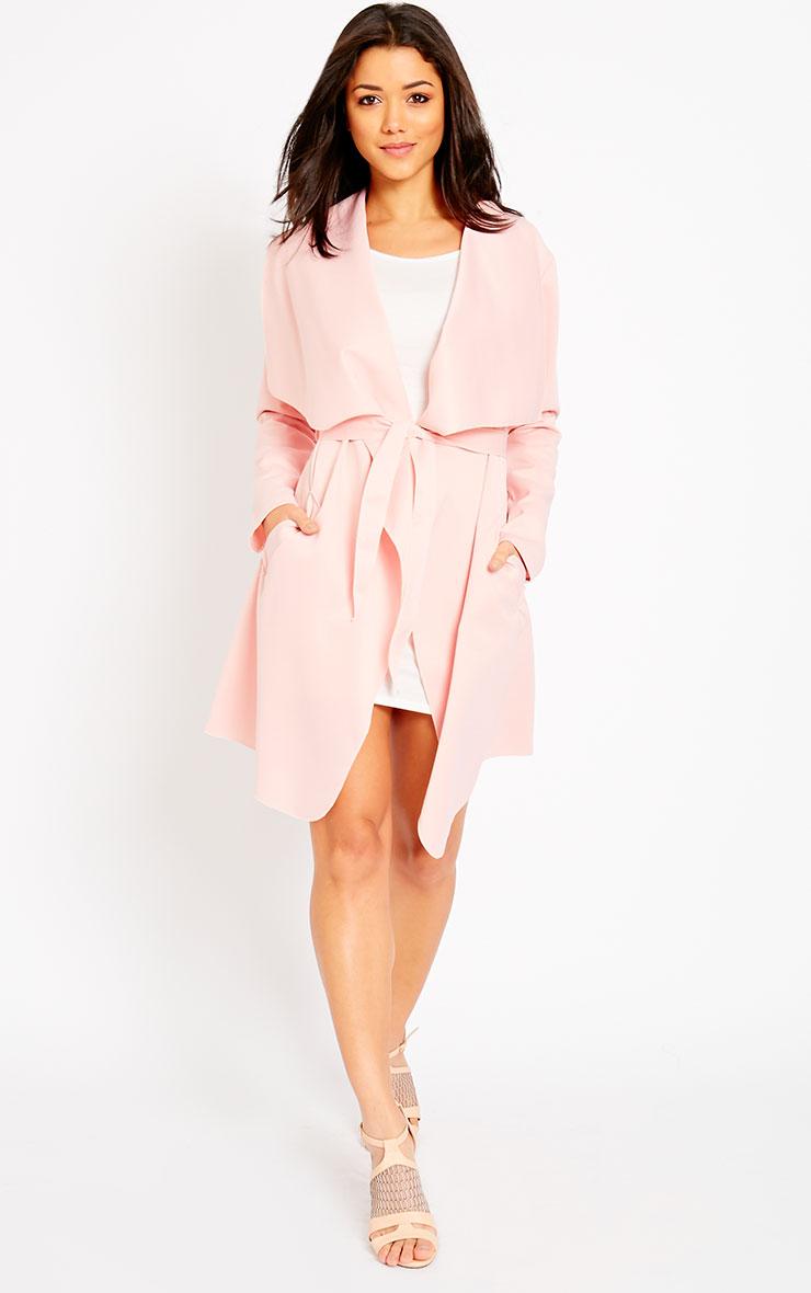 Livia Pink Lightweight Waterfall Belted Jacket 3