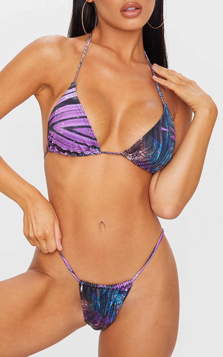 Purple Palm Print Mini Adjustable Tanga Bikini Bottom 1