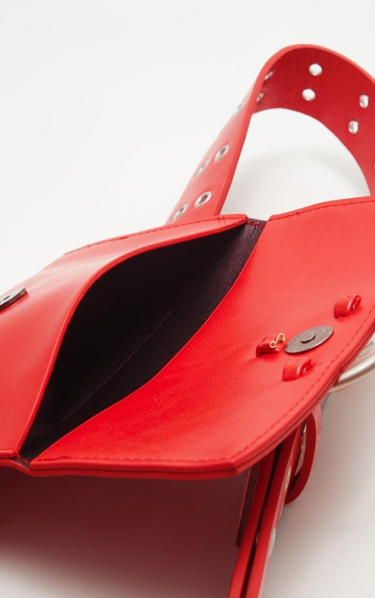 Red Eyelet Ring Belted Bum Bag 4