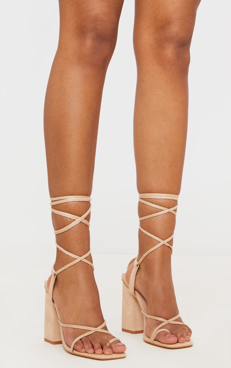 Nude Chunky Block Heel Strappy Ankle Tie Sandals 2