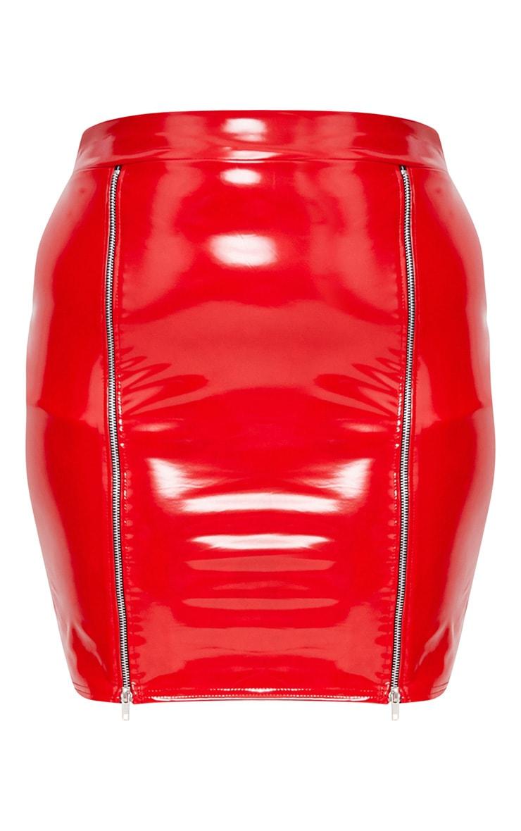 Plus Red Vinyl Zip Detail Bodycon Skirt 3