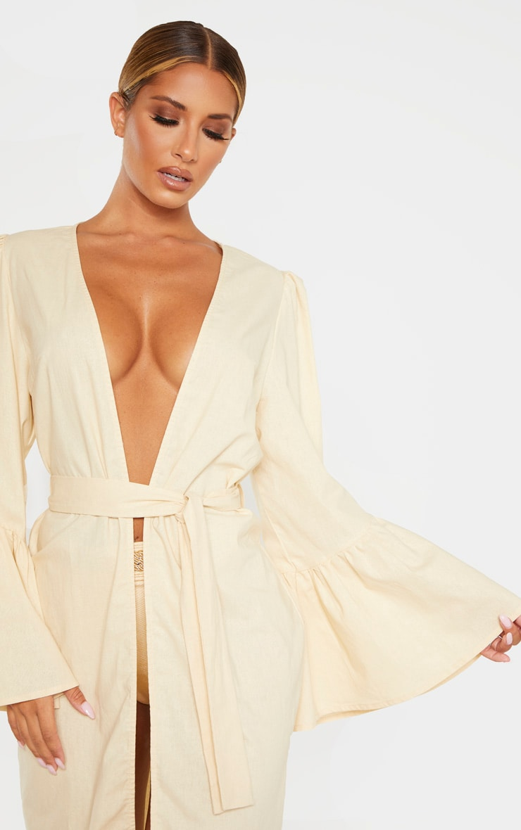 Nude Flare Sleeve Kimono 5