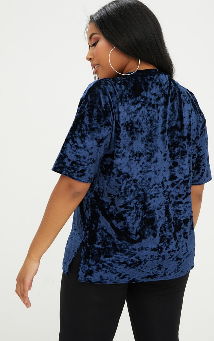 Plus Blue Velvet T-Shirt 2