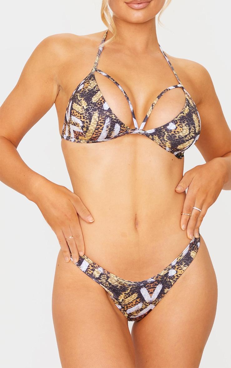 Brown Tribal Print Mini Bikini Bottom 1