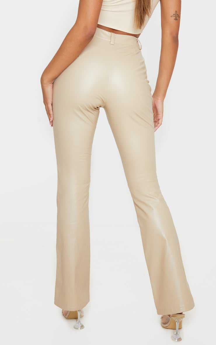 Cream Faux Leather Pocket Detail Straight Pants 4