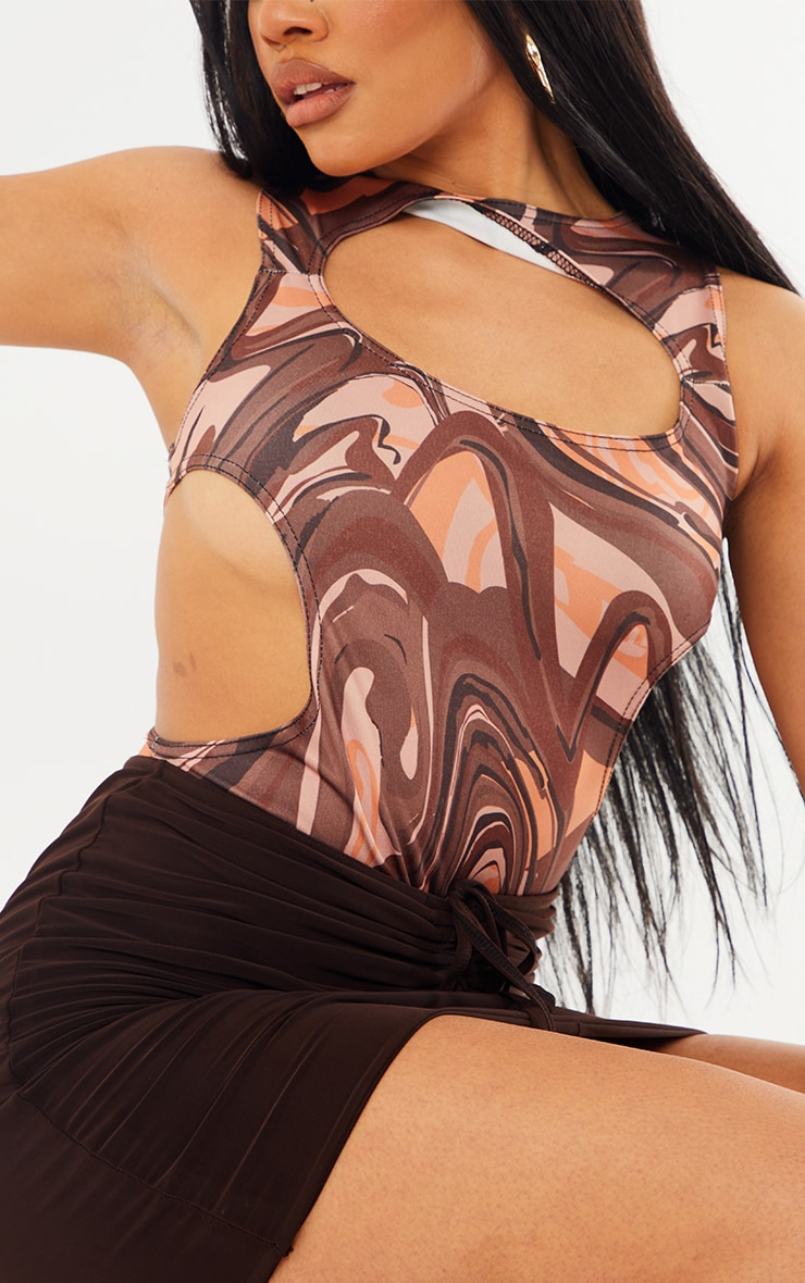 Brown  Abstract Print Slinky Front Cut Out Racer Bodysuit 4