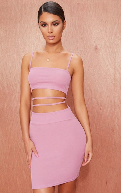 Mauve Ribbed Strappy Cut Out Detail Bodycon Dress