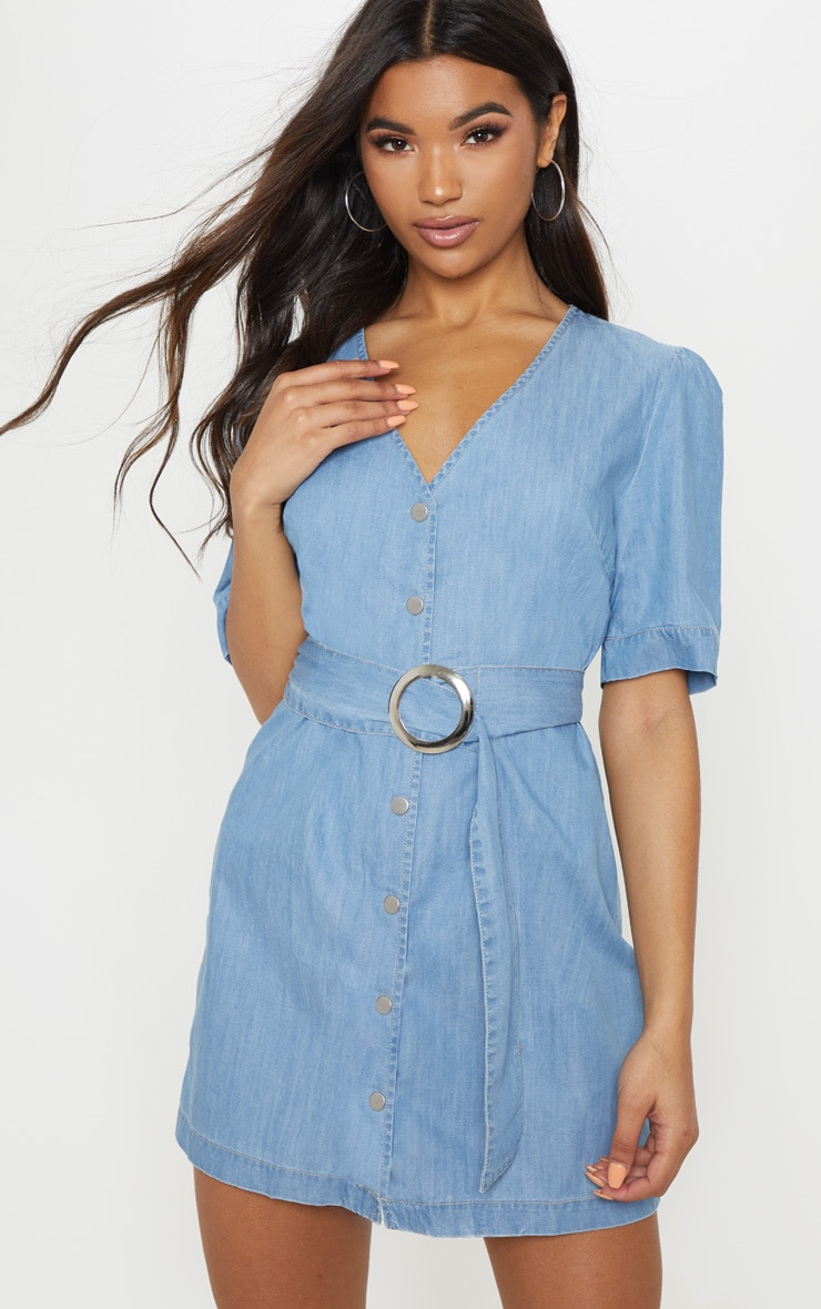 Light Wash Buckle Denim Dress 1